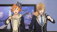 Hinata and Mitsuki singing with the cats