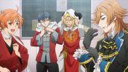 Hinata, Mitsuki, Ryo, and Satsuma putting on costumes for the singing contest