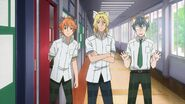 Ryo, Hinata, and Satsuma watch Saku running towards them