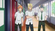 Ryo, Hinata, and Satsuma watch Saku running towards them