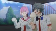 Uta pointing over to where Saku is with Sosuke being surprised