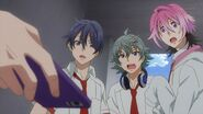 Saku, Sosuke, and Uta hearing their song being played by Kakeru
