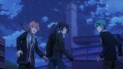 Kaoru, Koya, and Seijun watching Ushio handling the guards.jpg
