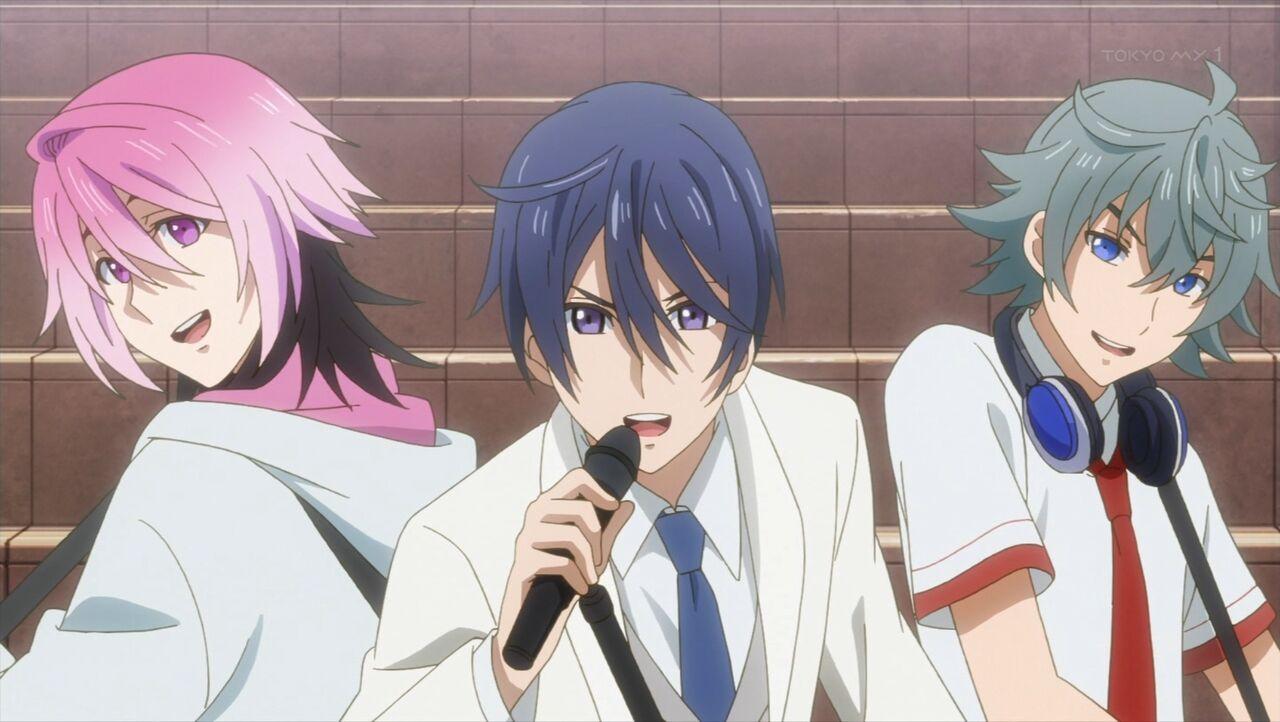 Saku, Sosuke, and Uta singing side by side during filming.jpg