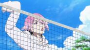 Uta about to spike the beach ball