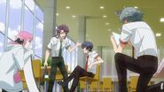 Saku, Sosuke, Uta, and Kakeru filming near the cafeteria