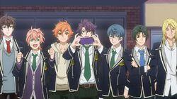 Hinata, Koya, Kakeru, Rei, Ryo, and Satsuma waiting for Sakutasuke to perform.jpg