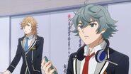 Mitsuki and Sosuke listening to club president's comments