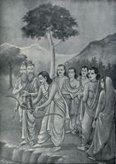 Arjuna throws his weapons in water as advised by Agni