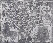 Wu liang shrine relief depicting xihe, yi, and fusang tree