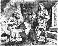 Sigurd prüft das schwert Gram by Johannes Gehrts