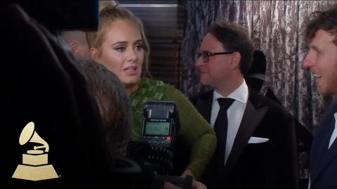 Adele Wins Album of the Year Award Backstage 59th GRAMMYs