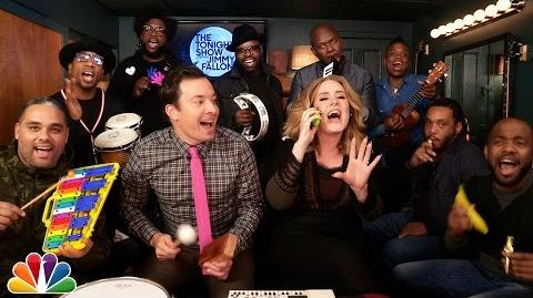 """Jimmy Fallon, Adele & The Roots Sing """"Hello"""" (w Classroom Instruments)-0"""