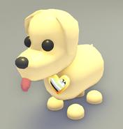 Dog wearing a Agender Pride Pin