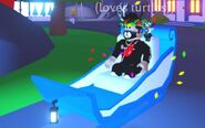 A player riding the Ice Queen Sleigh