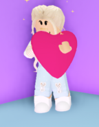 A player holding the Heart Plushie