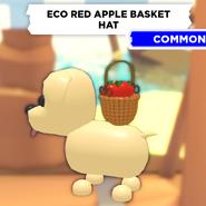 Eco Red Apple Basket Hat on a Dog