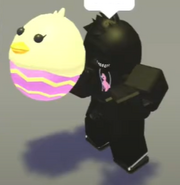 A player holding a Chick Plush