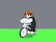 A player riding a Bike