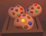 Cookie dough plush displayed