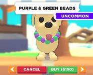 Purple & Green Beads on a Dog