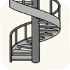 Lounge Stairs GraySpiralStair.png