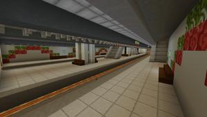 Station platform on opening day, 4 September 2017