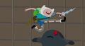 S5 e36 Finn jumping over a rock monster