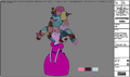 Modelsheet Young Princess Bubblegum with Candy Pieces on Her Head