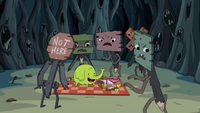 S1e4 tree trunks with sign zombies1