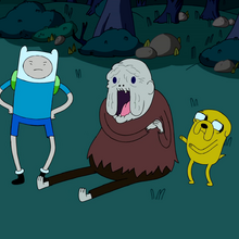 S1e22 Finn and Jake with happy Old Man Henchman.png