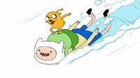 S1e3 Jake sleding on Finn