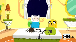 S2e17 Finn and Jake smiling over dead Princess Plant