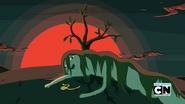 S5e34 Shoko dying by tree