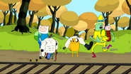 S4 E15 Magic Man running away in Finn and Jake's direction