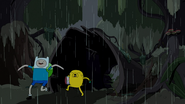 S4e23 Finn and Jake running by hollow log