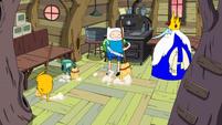 S10e2 Finn, Jake, and BMO sweeping