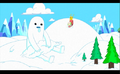 S1e3 snow golem sitting in snow