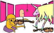 Jake plays viola to Lady Rainicorn