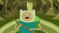 S5 e35 Finn in paddling a raft down a river of slime