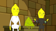 S5e9 the Lemongrabs standing in front of Plop-Top