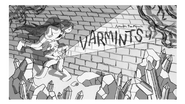 Varmints title card design by Kris Mukai and painted by Joy Ang