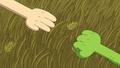 S8e28 Shoot. Paper (Finn's hand) Rock (Fern's hand)
