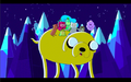 S1e3 princesses and finn riding on jake