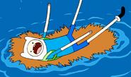 S1e16 Finn in ocean with busted sleepingbag