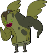 Zombie Banana Guard with wings, lips, and muscles