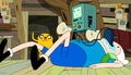 S5e6 BMO w bread standing on Finns belly