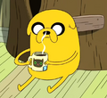 S2e8 jake drinking hot tea