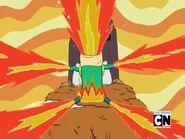 Finn in flames