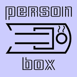 An abstract icon representing a person in a capsule hotel room, which is more similar to a coffin in nature. The occupant appears to be plumbed in to the system via tubes to their neck.